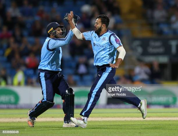 Adil Rashid of Yorkshire Vikings celebrates taking the wicket of Adam Rossington of Northamptonshire Steelbacks during the NatWest T20 Blast at...