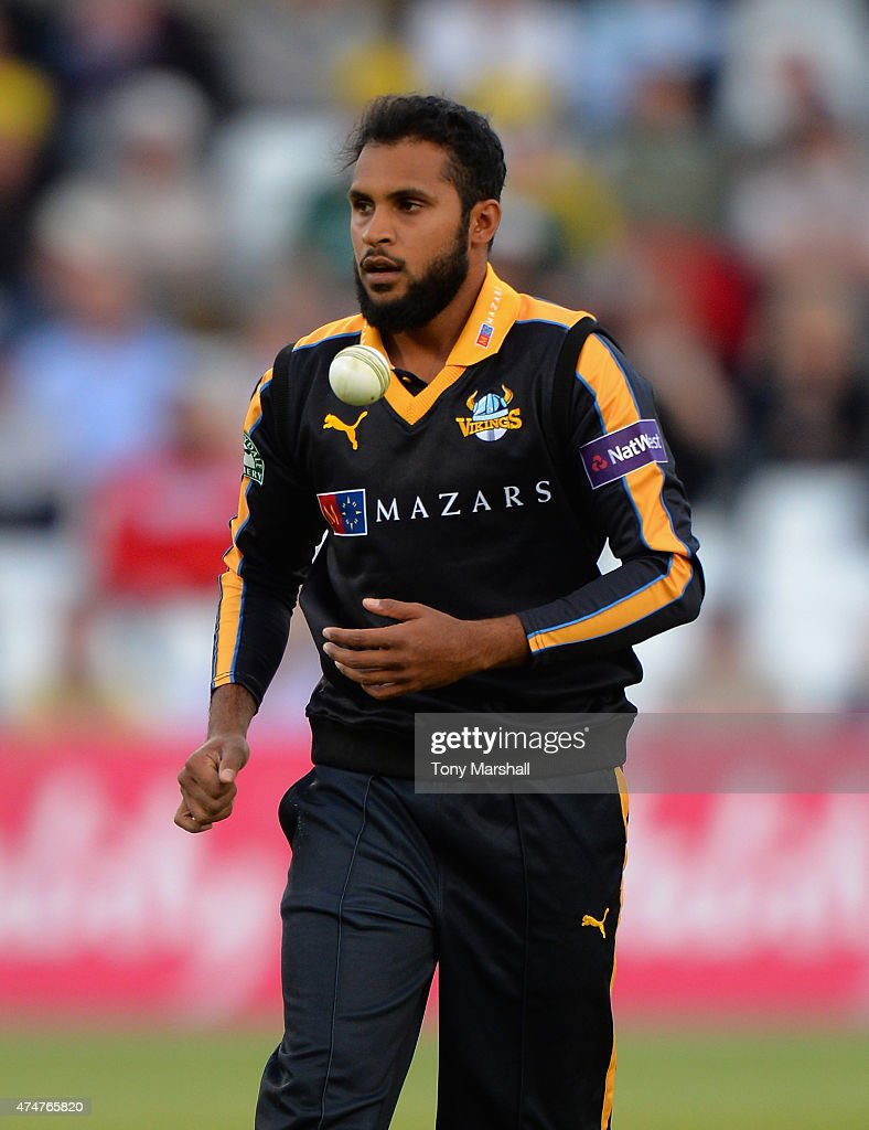 Adil Rashid of Yorkshire Vikings during the NatWest T20 Blast between Nottingham Outlaws and Yorkshire Vikings at Trent Bridge on May 22 2015 in...