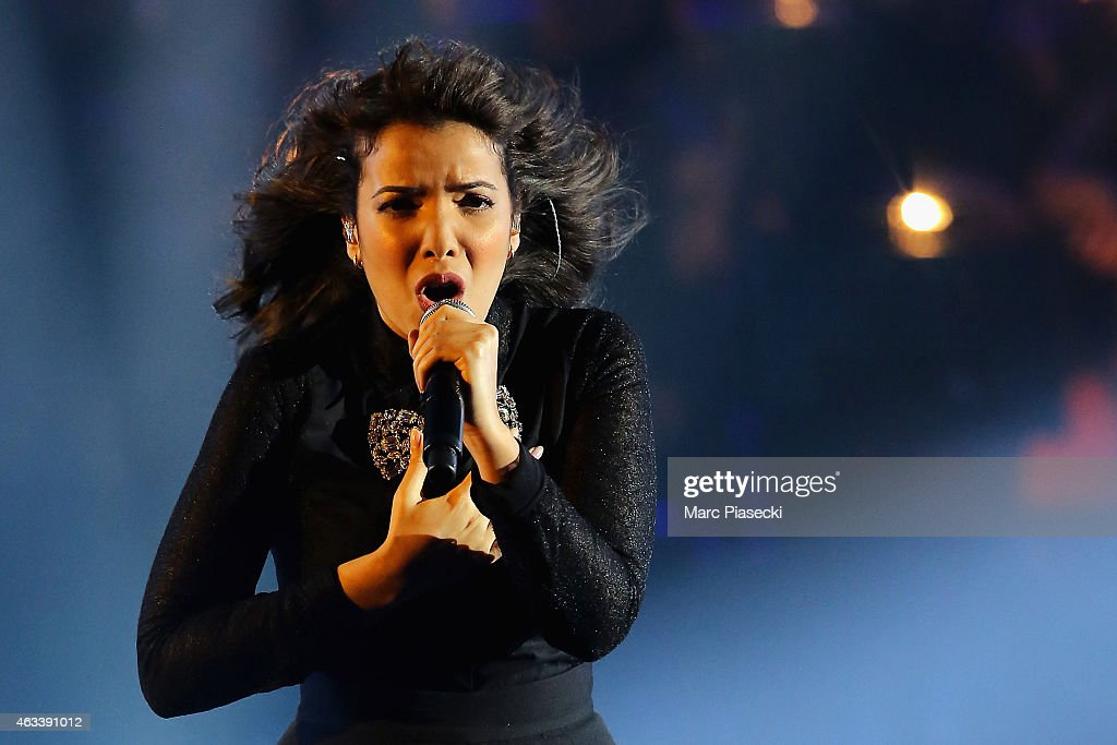 Adila Sedraia aka Indila performs during the 30th 'Victoires de la Musique' French Music Awards Ceremony at le Zenith on February 13, 2015 in Paris, France.