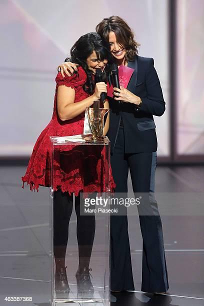 Adila Sedraia aka Indila receives the revelation award for the album 'Mini World' during the 30th 'Victoires de la Musique' French Music Awards...