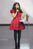 Adila Sedraia aka Indila receives the revelation award for the album 'Mini World' during the 30th 'Victoires de la Musique' French Music Awards...