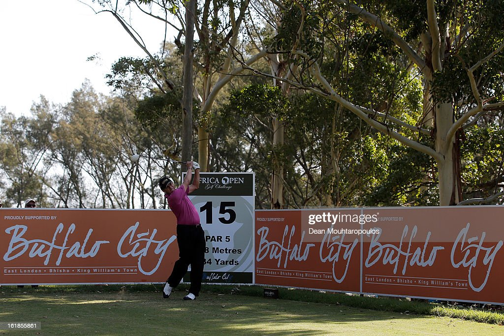 Adilson da Silva of Brazil hits his second shot on the 15th hole during Final Day of the Africa Open at East London Golf Club on February 17, 2013 in East London, South Africa.
