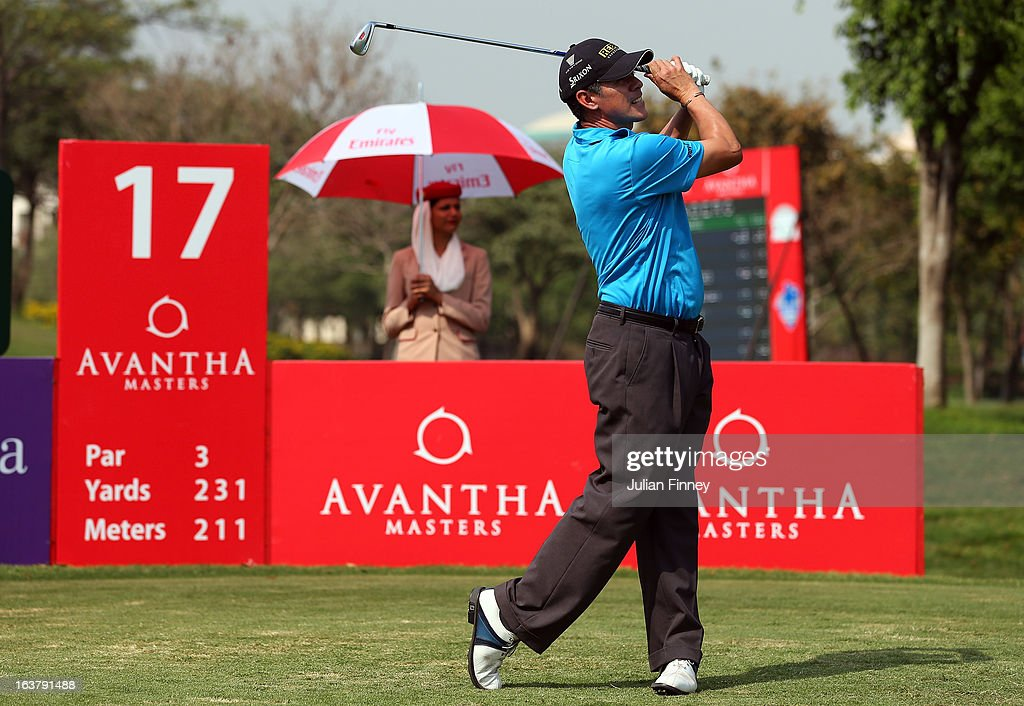 Adilson Da Silva of Brazil tees off on the 17th during day three of the Avantha Masters at Jaypee Greens Golf Club on March 16, 2013 in Delhi, India.
