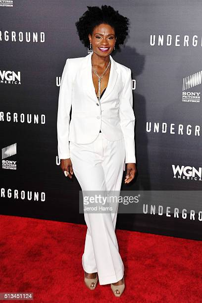 Adina Porter arrives at the Premiere of WGN America's 'Underground' at The Theatre at The Ace Hotel on March 2 2016 in Los Angeles California