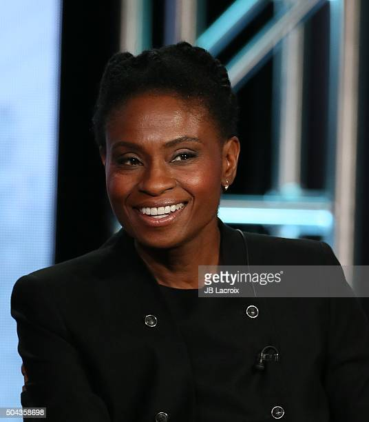 Adina Porter speaks onstage during the CW Network 2016 Winter TCA Press Tour panel at The Langham Huntington Hotel and Spa on January 10 2016 in...