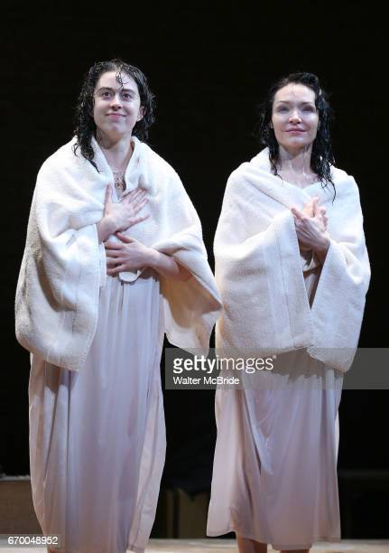 Adina Verson and Katrina Lenk during the Broadway Opening Night Performance Curtain Call Bows for 'Indecent' at The Cort Theatre on April 18 2017 in...