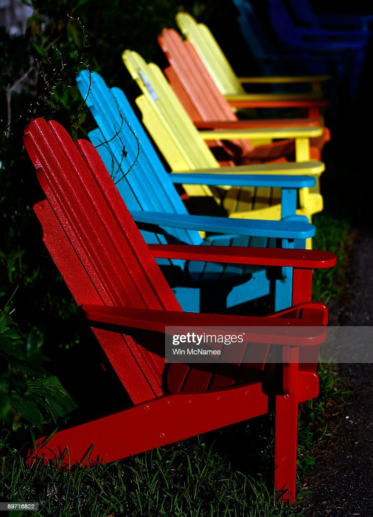 Adirondack chairs are displayed outside a furniture store August 8, 2009 in Vineyard Haven, Massachusetts on the island of Martha's Vineyard. President Barack Obama and his family will visit Martha's Vineyard and stay at the Blue Heron Farm off South Road in Chilmark while on vacation during the last week of August.