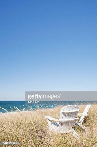 Adirondack in dunes by sea nantucket stock photo getty for Nantucket by the sea