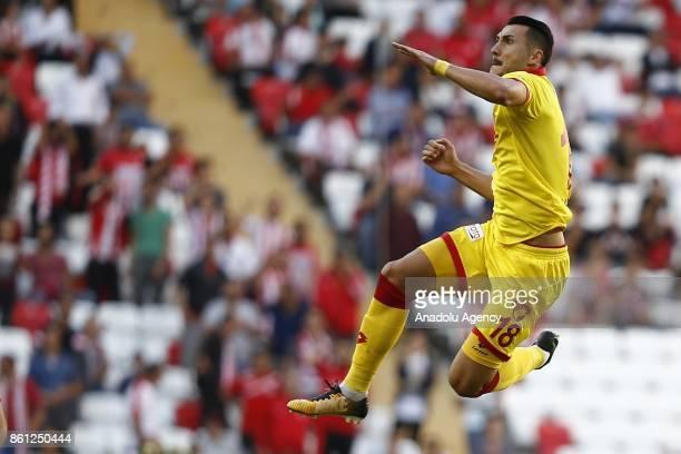 Adis Jahovic of Goztepe celebrates after scoring a goal during the Turkish Super Lig soccer match between Antalyaspor and Goztepe at Antalya Stadium...