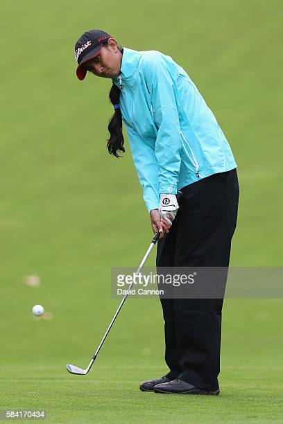Aditi Ashok of India chips during the first round of the 2016 Ricoh Women's British Open on July 28 2016 in Woburn England