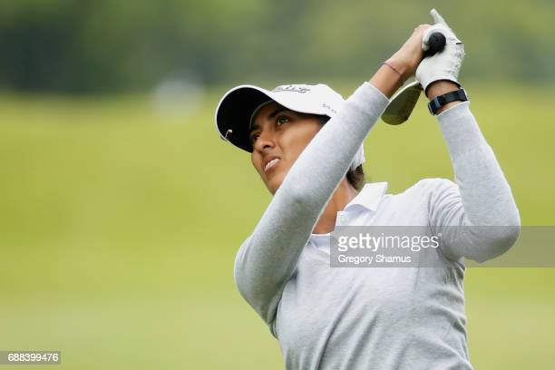 Aditi Ashok of India hits to the sixth green during the first round of the LPGA Volvik Championship on May 25 2017 at Travis Pointe Country Club Ann...