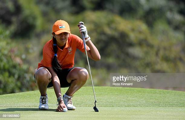 Aditi Ashok of India in action during the third round of the Women's Individual Stroke Play golf on day 14 of the Rio Olympics at the Olympic Golf...