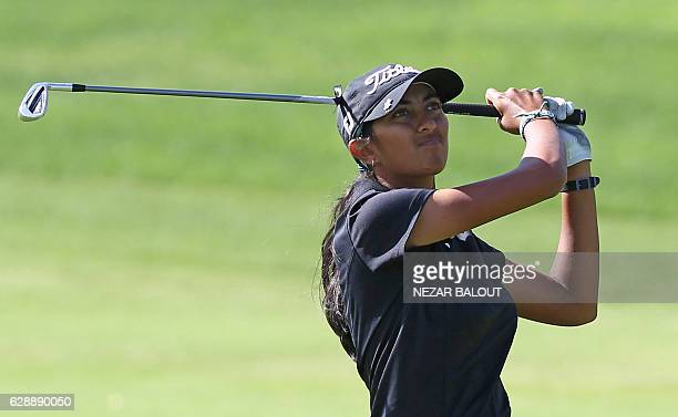 Aditi Ashok of India looks on after playing a shot during the final round of the 2016 Omega Dubai Ladies Masters at the Emirates Golf Club in Dubai...