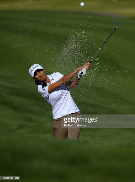 Aditi Ashok of India makes a shot out of a bunker on the 13th hole during the completion of the second round of the ANA Inspiration on the Dinah...