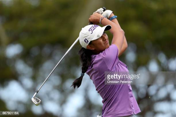 Aditi Ashok of India plays a tee shot on the eighth hole during the first round of the LPGA LOTTE Championship Presented By Hershey at Ko Olina Golf...