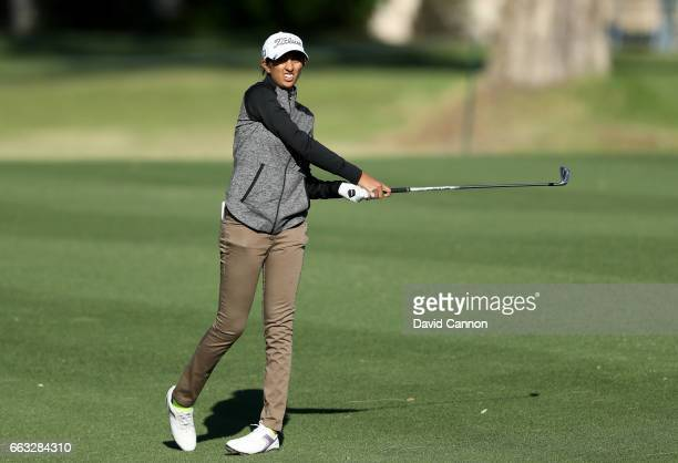 Aditi Ashok of India plays her second shot at the par 4 13th hole during the completion of the second round of the 2017 ANA Inspiration held on the...