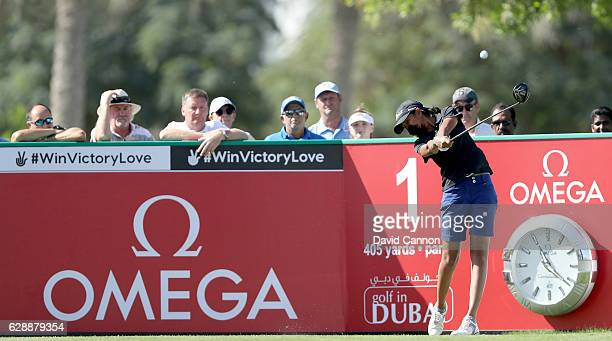 Aditi Ashok of India plays her tee shot on the first hole during the final round of the 2016 Omega Dubai Ladies Masters on the Majlis Course at the...