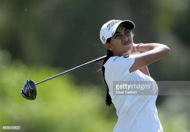 Aditi Ashok of India plays her tee shot on the par 4 sixth hole during the third round of the 2017 ANA Inspiration held on the Dinah Shore Tournament...
