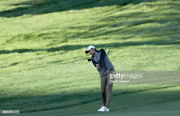 Aditi Ashok of India plays her third shot at the par 5 ninth hole during the completion of the second round of the 2017 ANA Inspiration held on the...