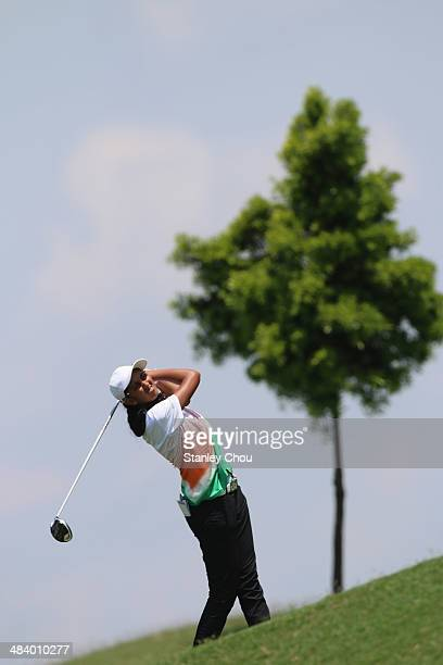 Aditi Ashok of India plays out of the rough on the 13th hole during day three stroke play of the Queen Sirikit Cup of Golf on April 11 2014 at the...