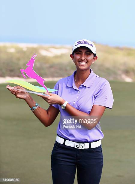 Aditi Ashok of India pose for a picture after winning the nearest to the pin bunker challenge ahead of the Fatima Bint Mubarak Ladies Open at...
