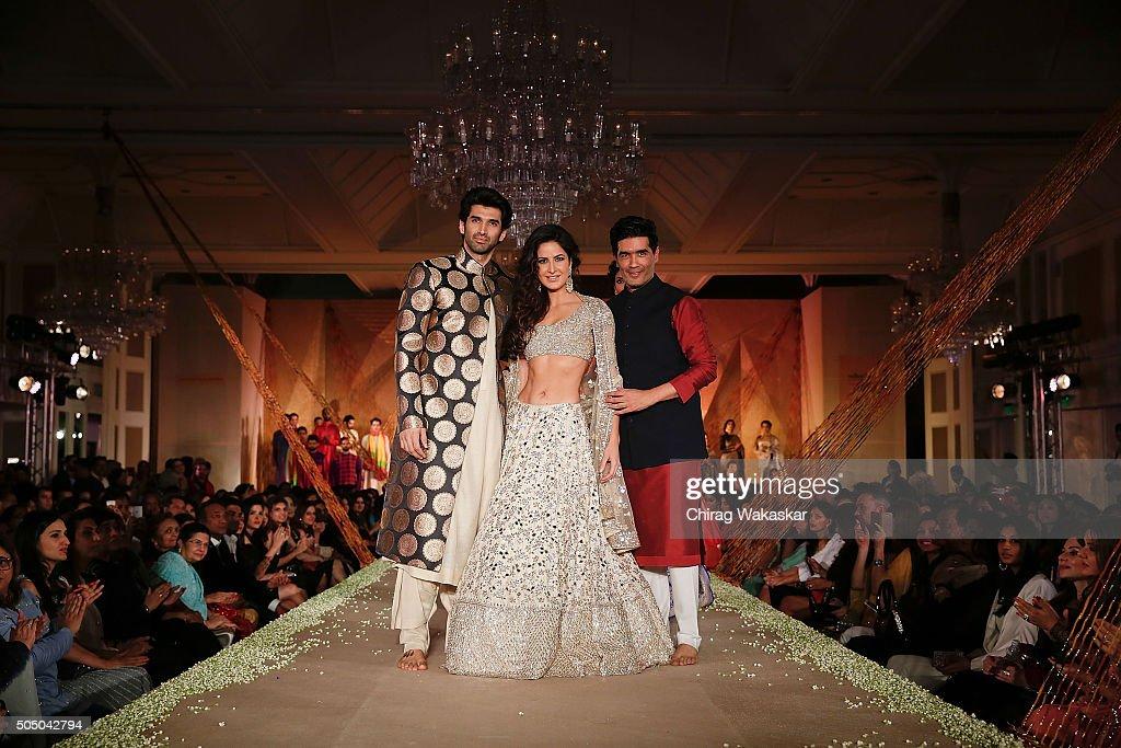 Aditya Roy Kapur Katrina Kaif and Manish Malhotra walk the runway at Regal Threads Fashion Show By Manish Malhotra at Trident Hotel on January 14...