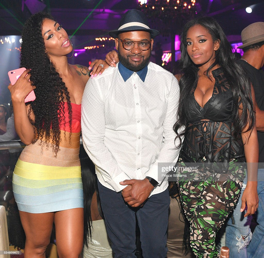 Adiz 'Bambi': Benson, Dishaun Stewart and Tia Becca attend the Love and Hip Hop Take Over at Prive on May 28, 2016 in Atlanta, Georgia.