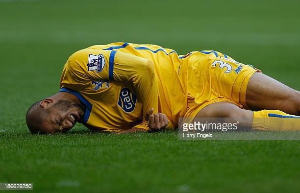 Adlene Guedioura of Crystal Palace reacts after being injured during the Barclays Premier League match between West Bromwich Albion and Crystal...