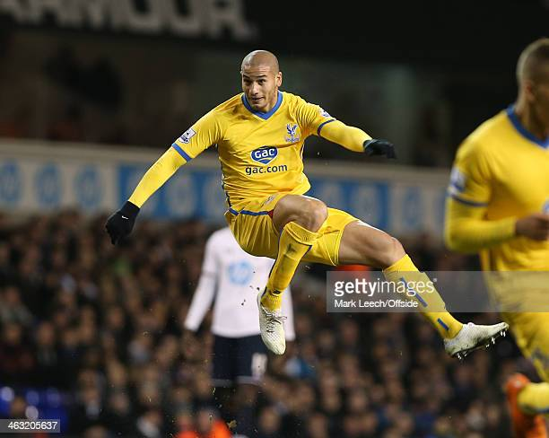 Adlene Guedioura of Palace shoots during the Barclays Premier League match between Tottenham Hotspur and Crystal Palace at White Hart Lane on January...