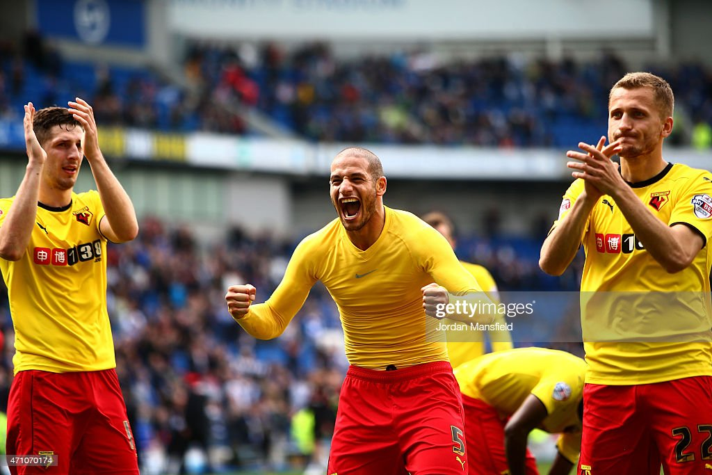 <a gi-track='captionPersonalityLinkClicked' href=/galleries/search?phrase=Adlene+Guedioura&family=editorial&specificpeople=6732967 ng-click='$event.stopPropagation()'>Adlene Guedioura</a> of Watford (C) celebrates winning after the match during the Sky Bet Championship match between Brighton & Hove Albion and Watford at Amex Stadium on April 25, 2015 in Brighton, England.