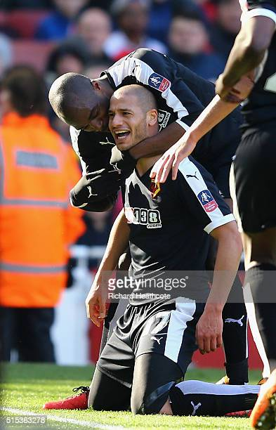 Adlene Guedioura of Watford celebrates with team mate AllanRomeo Nyom as he scores their second goal during the Emirates FA Cup sixth round match...