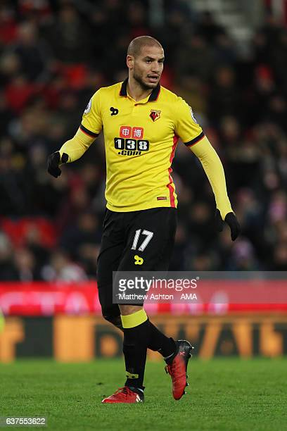 Adlene Guedioura of Watford during the Premier League match between Stoke City and Watford at Bet365 Stadium on January 3 2017 in Stoke on Trent...