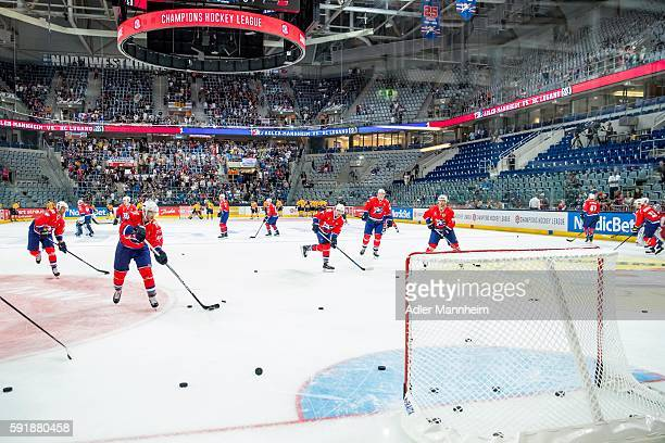 Adler Mannheim players warm up during the Champions Hockey League match between Adler Mannheim and HC Lugano at SAP on August 18 2016 in Mannheim...