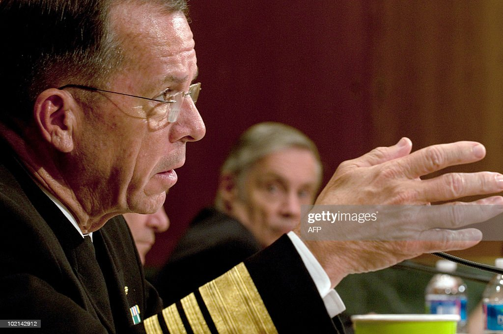US Adm. Mike Mullen Chairman of the Joint Chiefs of Staff appears before a Senate Appropriations Committee hearing on the proposed budget estimates for FY2011 for the Defense Department, in the Dirksen Senate Office Building on Capitol Hill in Washington, DC, June 16, 2010.