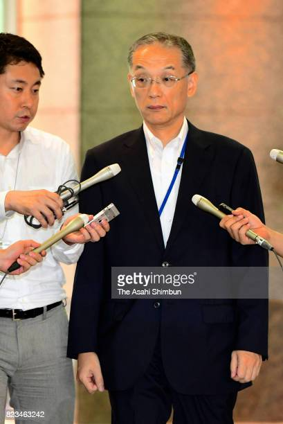 Administrative Vice Defense Minister Tetsuro Kuroe is is seen on arrival at the Defense Ministry on July 27 2017 in Tokyo Japan Inada has been caught...