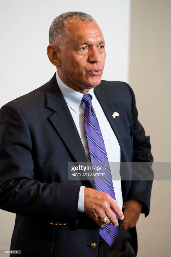NASA administrator and former astronaut <a gi-track='captionPersonalityLinkClicked' href=/galleries/search?phrase=Charles+Bolden+-+NASA+Administrator&family=editorial&specificpeople=15164541 ng-click='$event.stopPropagation()'>Charles Bolden</a> attends a press conference of the Liege university after being awarded, with other heads of Nasa and Easa, as Doctor Honoros Causa, as well as two Belgian astronauts, on September 26, 2012 in Liege. **Belgium Out**