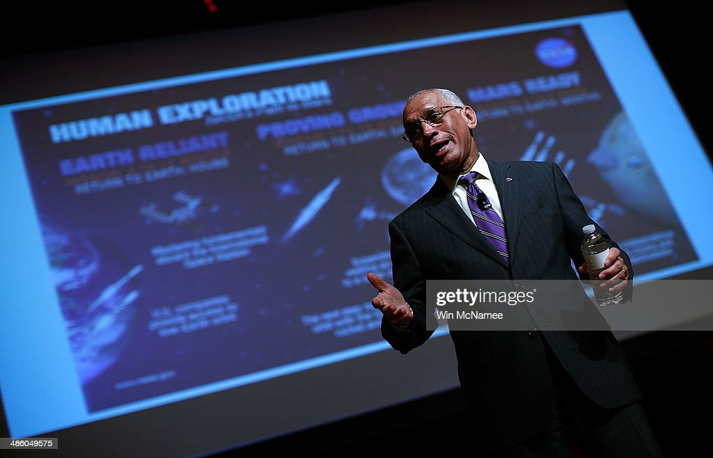 Administrator <a gi-track='captionPersonalityLinkClicked' href=/galleries/search?phrase=Charles+Bolden+-+NASA+Administrator&family=editorial&specificpeople=15164541 ng-click='$event.stopPropagation()'>Charles Bolden</a> delivers the opening keynote address at the Humans to Mars Summit on April 22, 2014 at George Washington University in Washington, DC. With the goal of sending a manned spacecraft to Mars within the next two decades the summit helps promote the improvement of technologies that will make travel to the planet more feasible.