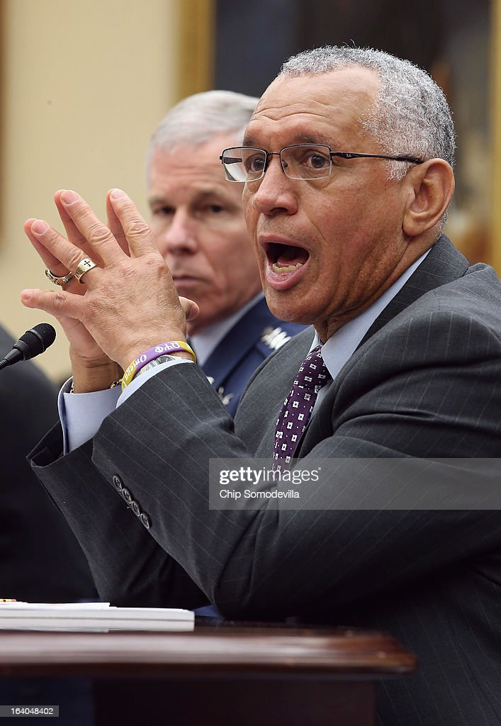 Administrator Charles Bolden Jr. (R) and Gen. William Shelton, head of the U.S. Air Force Space Command, testify before the House Science, Space and Technology Committee during a hearing in the Rayburn House Office Building on Capitol Hill March 19, 2013 in Washington, DC. The committee asked government and military experts about efforts to track and mitigate asteroids, meteors and other 'near-Earth objects.'