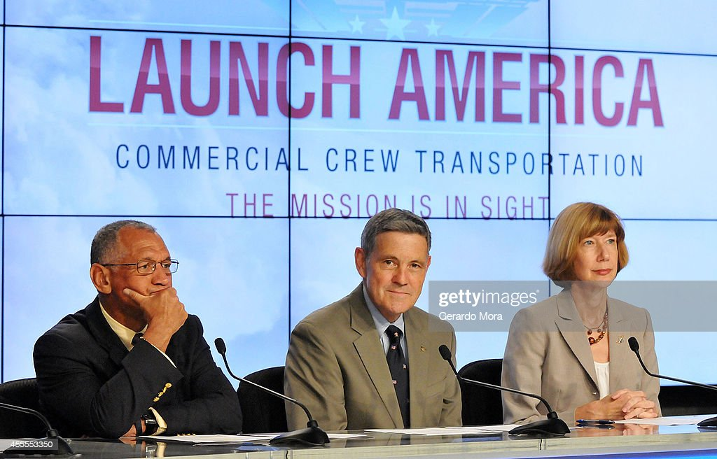 NASA administrator <a gi-track='captionPersonalityLinkClicked' href=/galleries/search?phrase=Charles+Bolden+-+NASA+Administrator&family=editorial&specificpeople=15164541 ng-click='$event.stopPropagation()'>Charles Bolden</a>, Kennedy Space Center Director Bob Cabana and Commercial Crew Program Manager Kathy Lueders attend a NASA press conference at the Kennedy Space Center on September 16, 2014 in Cape Canaveral, Florida. NASA announced the return of human spaceflight launches to the United States.