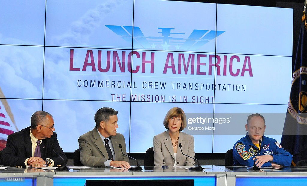 NASA administrator <a gi-track='captionPersonalityLinkClicked' href=/galleries/search?phrase=Charles+Bolden+-+NASA+Administrator&family=editorial&specificpeople=15164541 ng-click='$event.stopPropagation()'>Charles Bolden</a>, Kennedy Space Center Director Bob Cabana, Commercial Crew Program Manager Kathy Lueders and Astronaut Mike Fincke attend a NASA press conference at the Kennedy Space Center on September 16, 2014 in Cape Canaveral, Florida. NASA announced the return of human spaceflight launches to the United States.