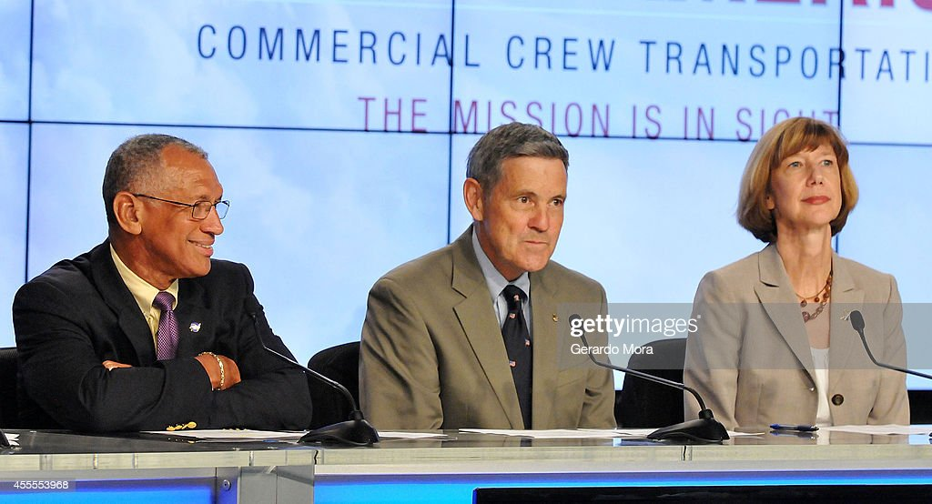NASA administrator <a gi-track='captionPersonalityLinkClicked' href=/galleries/search?phrase=Charles+Bolden+-+Administrador+de+la+NASA&family=editorial&specificpeople=15164541 ng-click='$event.stopPropagation()'>Charles Bolden</a>, Kennedy Space Center Director Bob Cabana and Commercial Crew Program Manager Kathy Lueders attend a NASA press conference at the Kennedy Space Center on September 16, 2014 in Cape Canaveral, Florida. NASA announced the return of human spaceflight launches to the United States.
