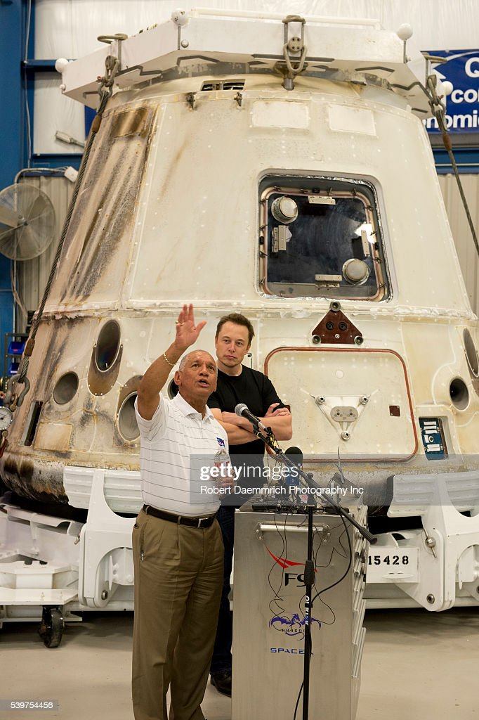 NASA administrator Charles Bolden left and SpaceX CEO and Chief Designer Elon Musk answer questions about the private Dragon spacecraft that returned...