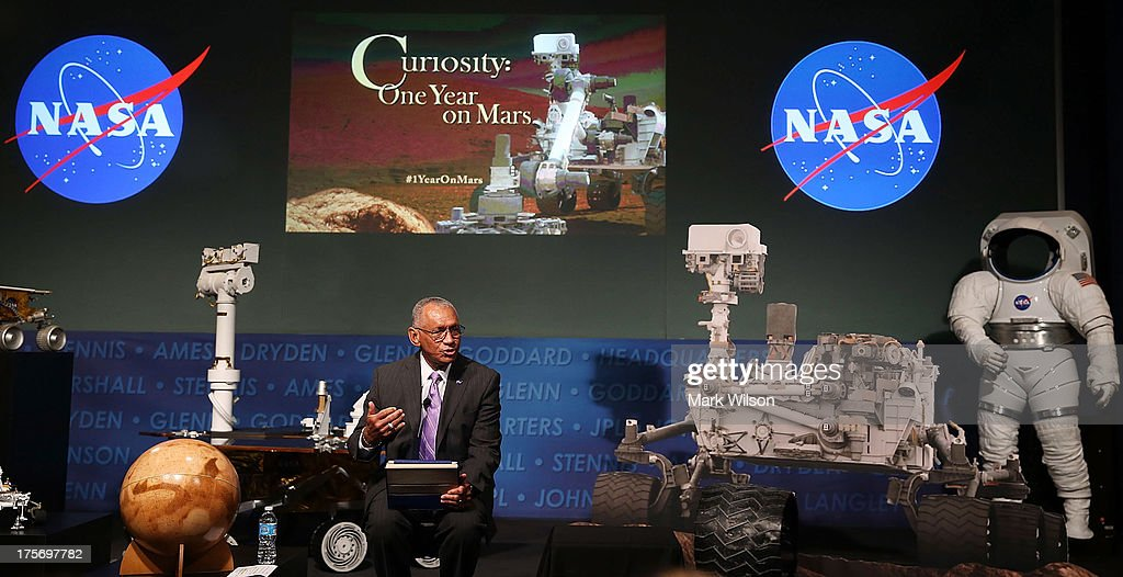 Administrator <a gi-track='captionPersonalityLinkClicked' href=/galleries/search?phrase=Charles+Bolden+-+NASA+Administrator&family=editorial&specificpeople=15164541 ng-click='$event.stopPropagation()'>Charles Bolden</a> speaks about the Curiosity rover during an event at NASA headquarters, August 6, 2013 in Washington, DC. The event was held to observe the first anniversary of NASA's Curiosity rover landing on Mars.