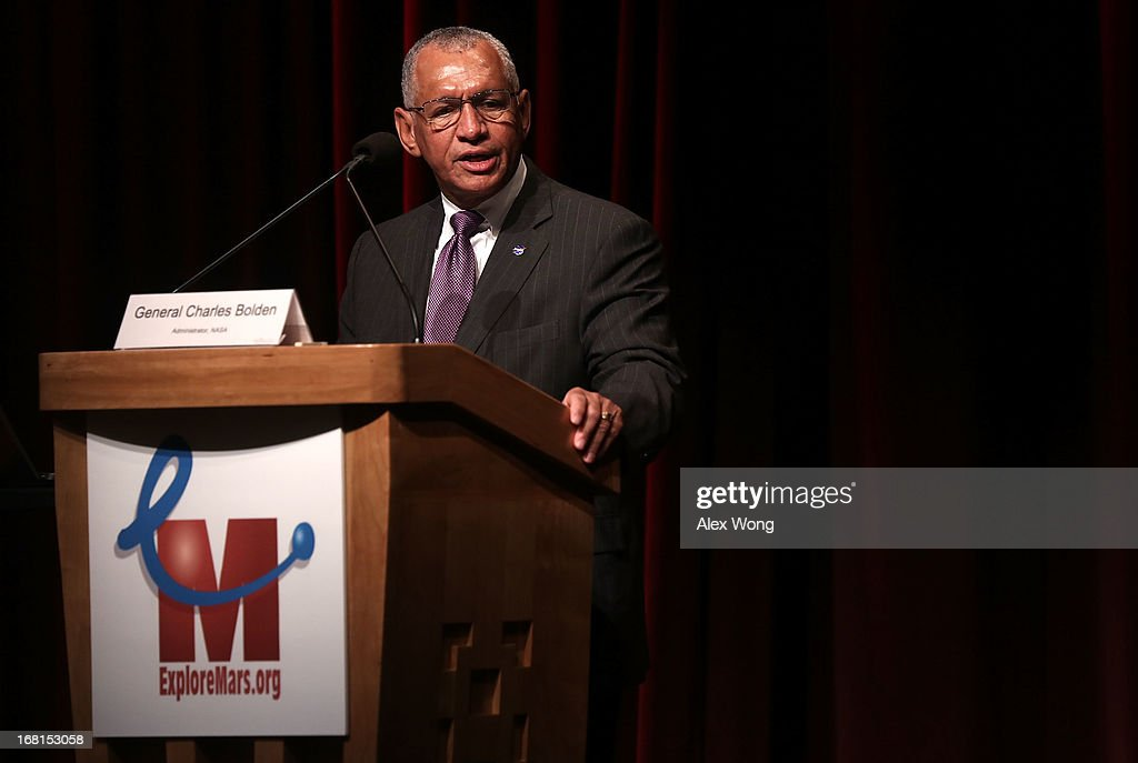 Administrator <a gi-track='captionPersonalityLinkClicked' href=/galleries/search?phrase=Charles+Bolden+-+NASA+Administrator&family=editorial&specificpeople=15164541 ng-click='$event.stopPropagation()'>Charles Bolden</a> speaks during the Humans to Mars Summit (H2M) May 6, 2013 at the Lisner Auditorium of the George Washington University in Washington, DC. Explore Mars Inc. held the summit to discuss Mars exploration and the goal of sending humans to Mars by 2013.