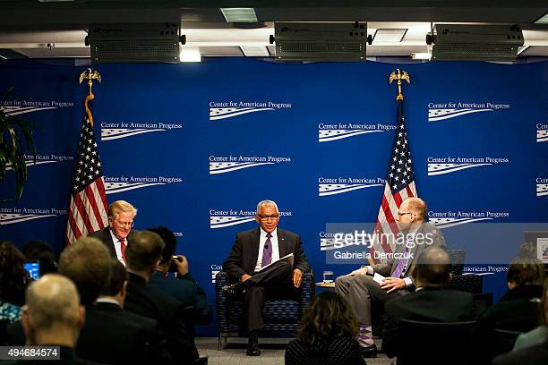 Administrator Charles Bolden speaks to moderators Senior Fellow Rudy deLeon and Policy Analyst Peter Juul at the 'Human Space Exploration The Next...
