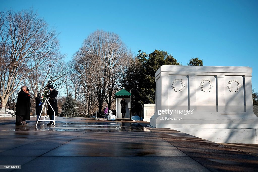Administrator Charles Bolton Jr left and his wife Alexis Bolton place a wreath at the Tomb of the Unknown Soldier in honor of NASA's annual Day of...