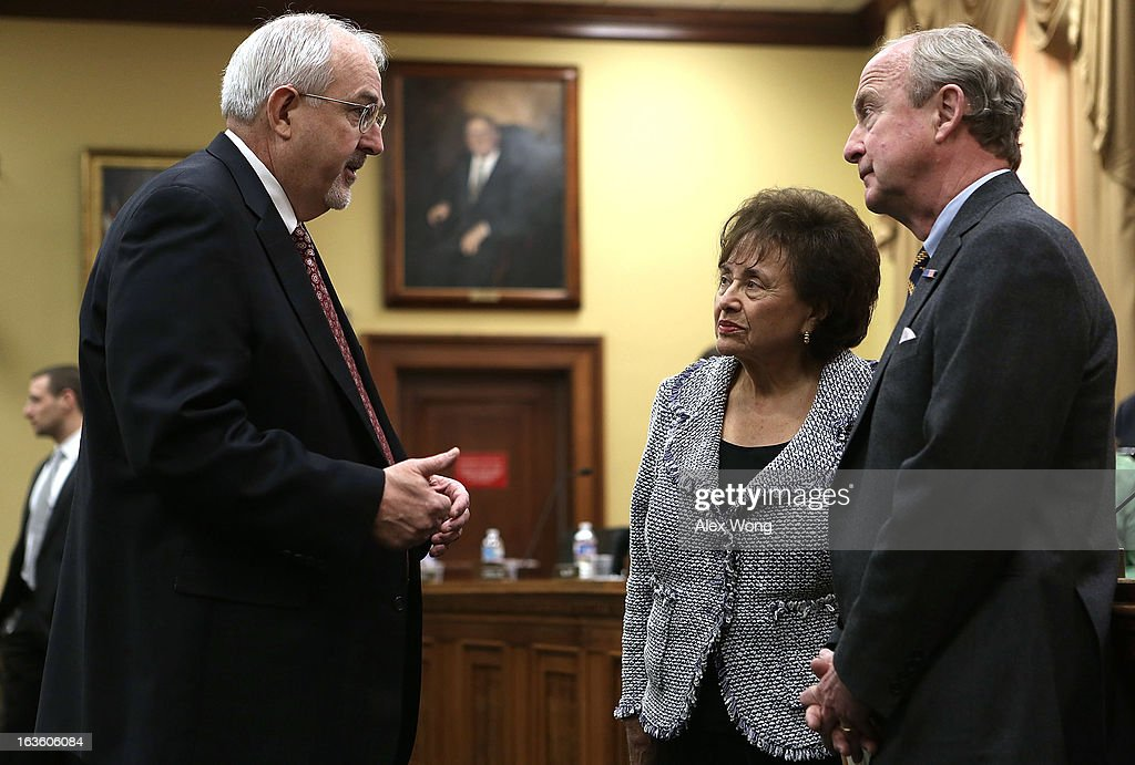 Administrator Craig Fugate (L) talks to Rep. <a gi-track='captionPersonalityLinkClicked' href=/galleries/search?phrase=Nita+Lowey&family=editorial&specificpeople=878051 ng-click='$event.stopPropagation()'>Nita Lowey</a> (D-NY) and Rep. Rodney Frelinghuysen (R-NJ) prior to a hearing before the Homeland Security Subcommittee of the House Appropriations Committee March 13, 2013 on Capitol Hill in Washington, DC. The subcommittee held a hearing on Hurricane Sandy funding oversight.