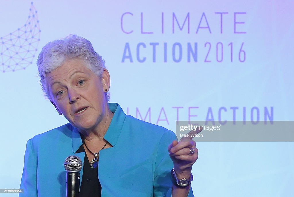 Administrator <a gi-track='captionPersonalityLinkClicked' href=/galleries/search?phrase=Gina+McCarthy&family=editorial&specificpeople=7904226 ng-click='$event.stopPropagation()'>Gina McCarthy</a> speaks during the Climate Action 2016 Summit at the Willard Hotel, May 6, 2016 in Washington, DC. The summit is taking place two weeks after the signing ceremony of the Paris Agreement.