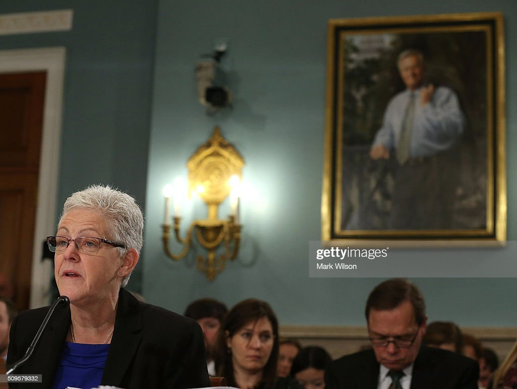 EPA Administrator <a gi-track='captionPersonalityLinkClicked' href=/galleries/search?phrase=Gina+McCarthy&family=editorial&specificpeople=7904226 ng-click='$event.stopPropagation()'>Gina McCarthy</a> testifies during a House Agriculture Committee hearing on Capitol Hill on February 11, 2016 in Washington, DC. The committee heard testimony on the impacts of the Environmental Protection Agency's actions on the rural economy.