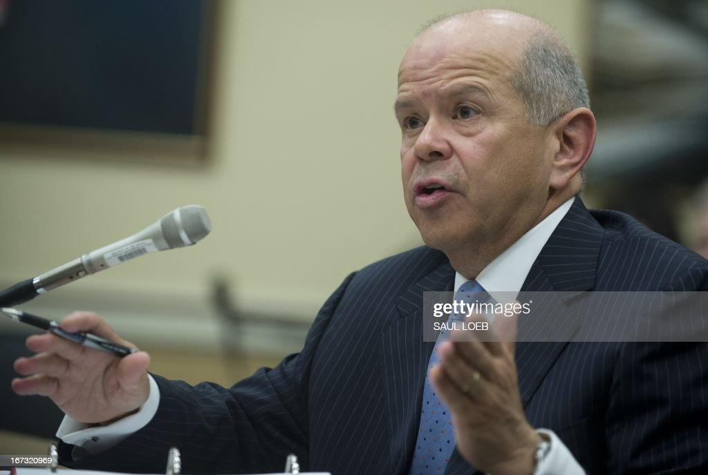 Administrator Michael Huerta of the Federal Aviation Administration (FAA) testifies on the fiscal year 2014 budget before the House Appropriations Subcommittee on Transportation, Housing and Urban Development during a hearing on Capitol Hill in Washington, DC, on April 24, 2013. AFP PHOTO / Saul LOEB